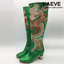 Kaeve Fashion Embroidery Silk Botas Butterfly-knot Crystal Embellished Animal Prints Zip Up Women Runway Ethnic Style boot