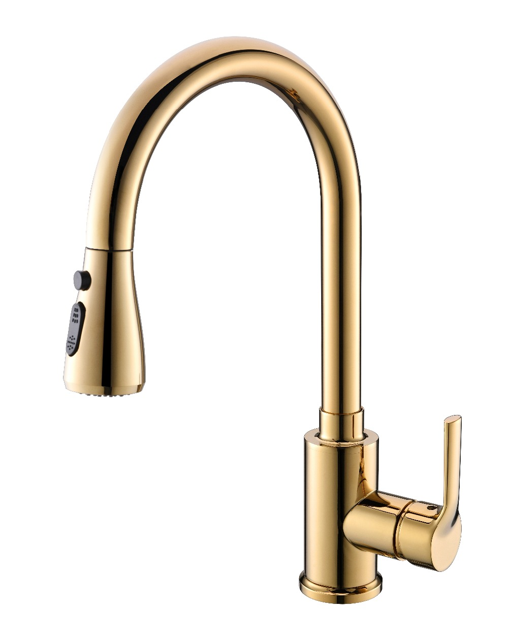 Free Ship Pull Ou Sprayer Kitchen Bar Sink Faucet Mixer Tap Single Hole / Handle Deck Mounted Gold Pvd Color