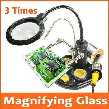 3 배 금속 탁상용 테이블 램프 빛 독서 돋보기 16 pcs led 램프 조명 된 pcb 용접 핸드폰 수리 돋보기