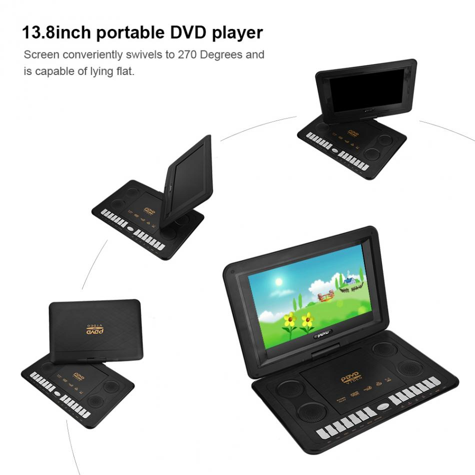 13 8 inch Portable DVD Player 110 240V 800 480 Resolution Support SVCD VCD CD CD