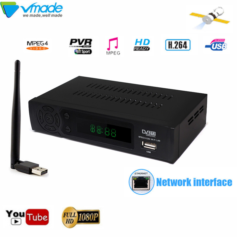 Vmade HD 1080P DVB T2 Digital Terrestrial TV receiver DVB T2 8939 h.264 supports YOUTUBE MPEG 2/4 with USB WIFI Dongle TV tuner