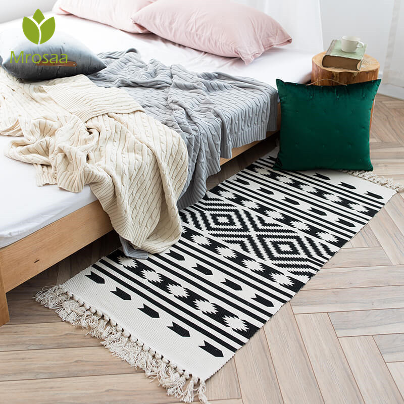 Us 18 87 Mrosaa Home Decor Retro Carpet For Sofa Living Room Bedroom Rug Cotton Tassel Yarn Dyed 60x130cm Table Ruuner Bedspread Tapestry In Carpet