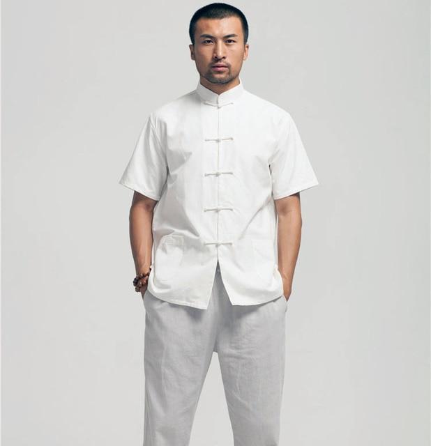 Белый Китайский кунг-фу рубашка С Коротким Рукавом Хлопок классические Мужские тан топы wingchun Блузка одежда летняя одежда для мужчин