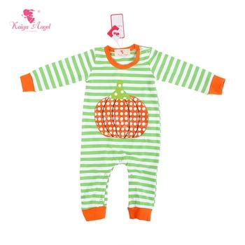 Kaiya Angel New Born Baby Clothes Baby Boys Girls Halloween Costume Stripe Baby Romper With Pumpkin 0-24M