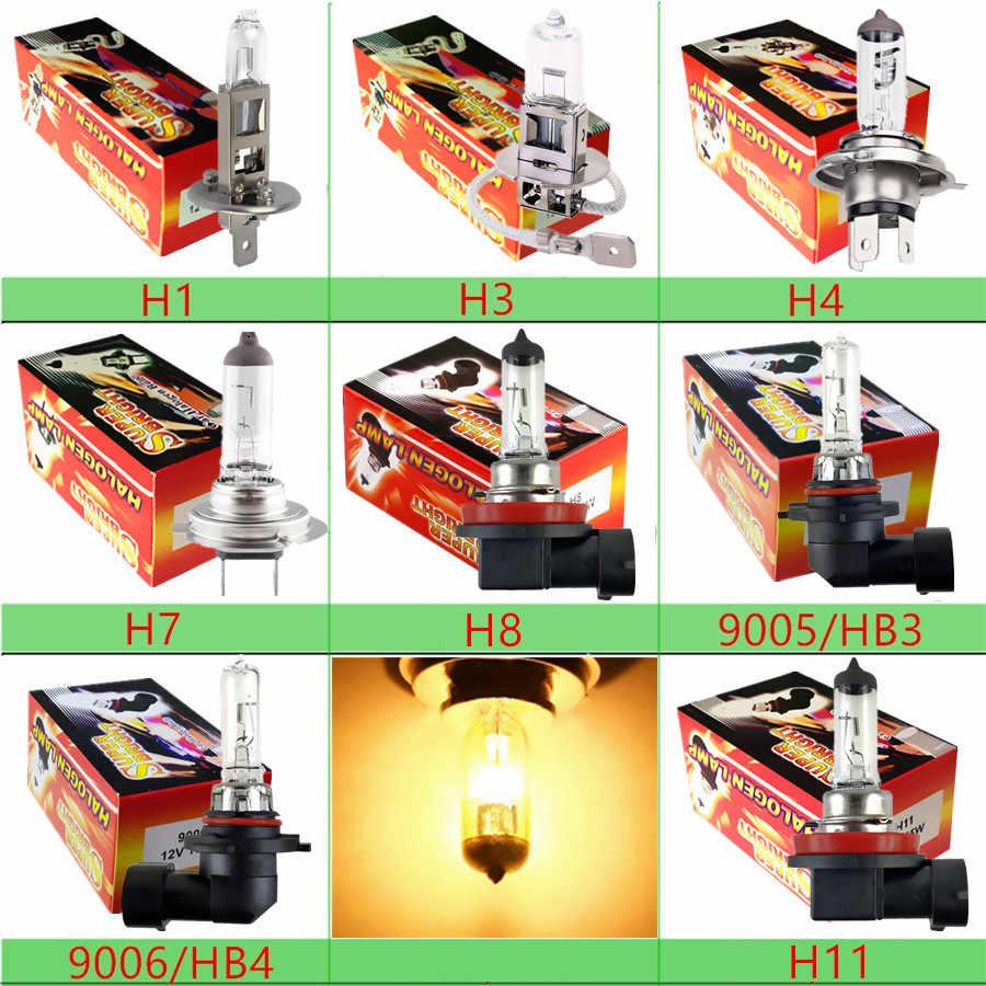 Lampu Mobil Lampu Bohlam Halogen H1 H3 H4 H7 H8 H11 9005 HB3 9006 HB4 12V 55W 100W 4300K Kuning Kaca Kuarsa Lampu Kabut Parkir