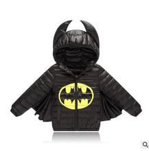 Crianças boys & girls jacket casaco de inverno quente para baixo casaco outwear jaqueta de algodão batman para o bebê Natal do bebê roupa dos miúdos traje