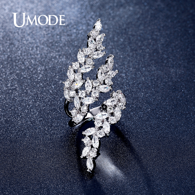 font b UMODE b font Brand Fashion Jewelry Rhodium plated Adjustable 0 1ct Marquise Cut