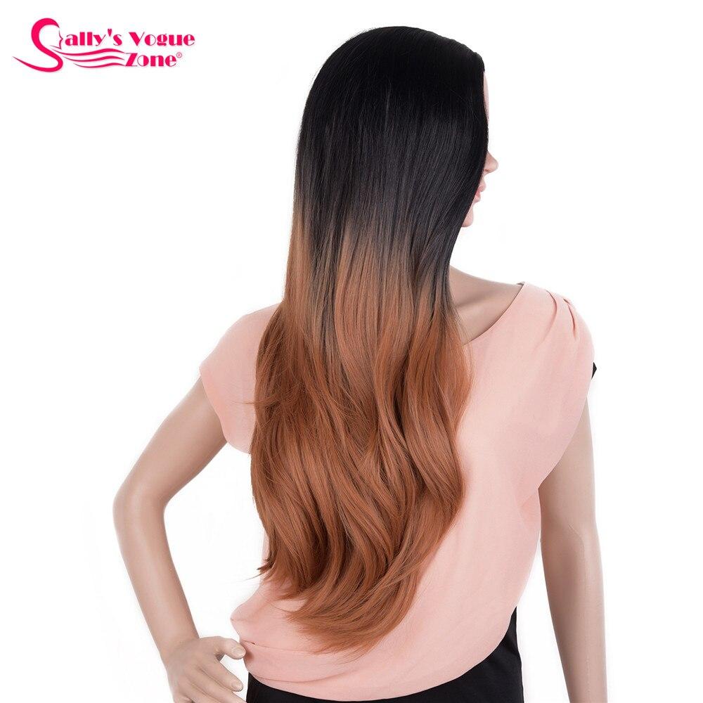 High Temperature Synthetic Long Wavy Ombre Black Brown Color Wig Sallyhair