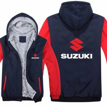 Motorcycle Suzuki Hoodies Jacket Winter Men Pullover Man Coat Casual Wool Liner Fleece Suzuki Sweatshirts(China)