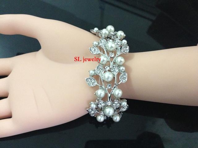 Elegante pulseira de noiva, Cristal Austríaco e pearl Flower Design Pulseira FRETE GRÁTIS hh2005