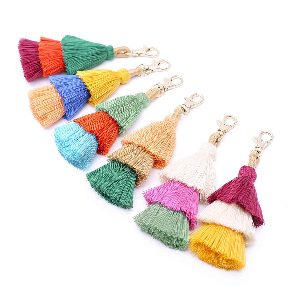 Hot Sale Fashion Cashmere Tassel Hair Ball Multicolor Tassel Accessories Wool Hair Ball  Women Keychain Key Ring For Female