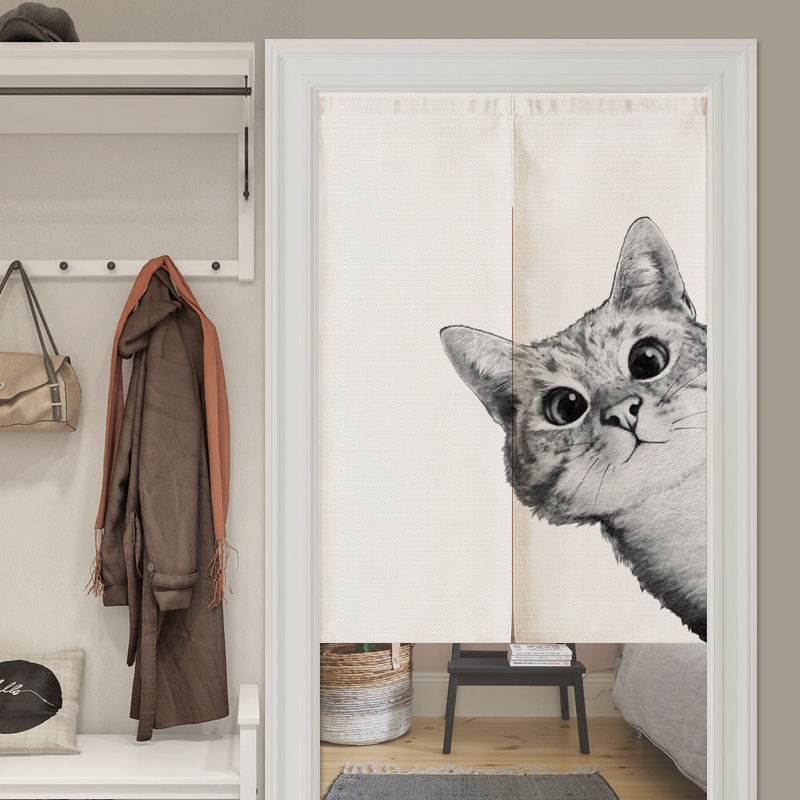 Black White Cartoon Cat Linen Door Curtain Noren Bedroom Kitchen Curtains Home Entrance Decoration Customizable Curtain