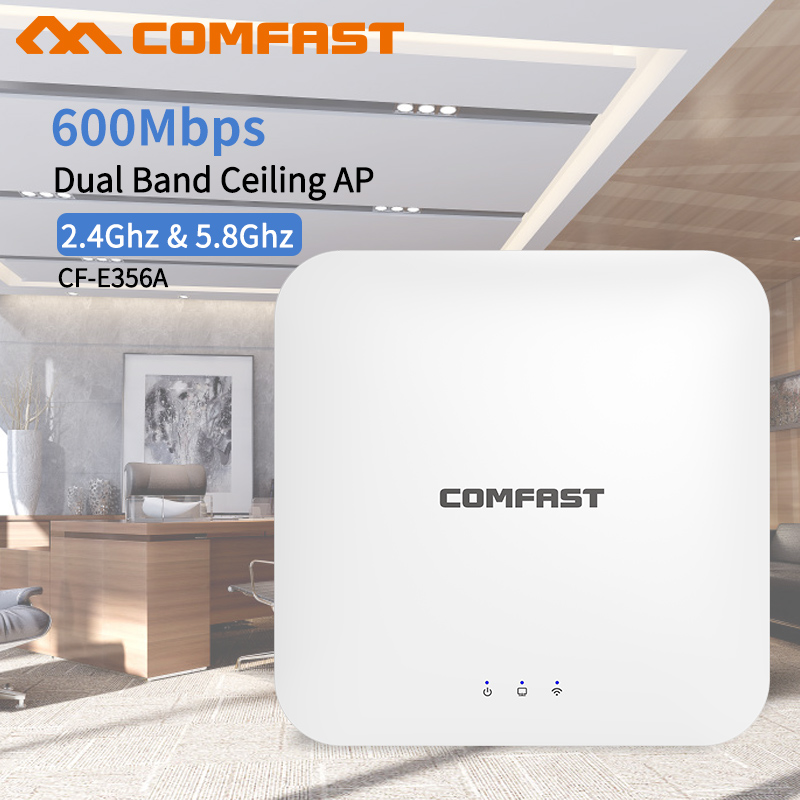 COMFAST Wireless AP CF-E356AC 600Mbps Ceiling AP 802.11AC 5.8G+2.4G Indoor AP 48V POE Power 16 Flash WiFi Access Point Amplifer