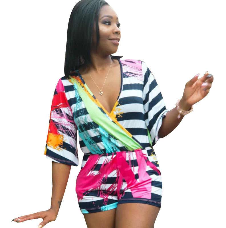 2019 Новый Женский Летний Полосатый цветной треугольный вырез с коротким рукавом Комбинезон пляжный модный короткий комбинезон S651