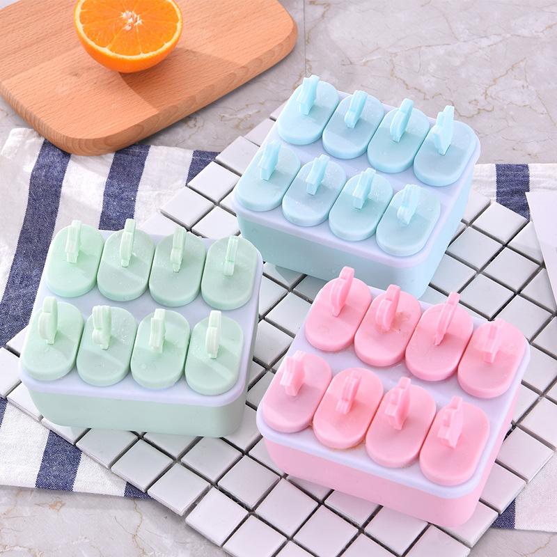 Oval Elliptical Silicone Ice Cream Mold Popsicle Mold Ice Cube Tool Frozen Popsicle Candy Holder