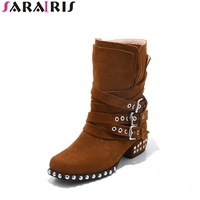 SARAIRIS 2018 Spring Autumn Brand Natural Cow Suede Ankle Boots Buckle Strap Shoes Woman Plus Size
