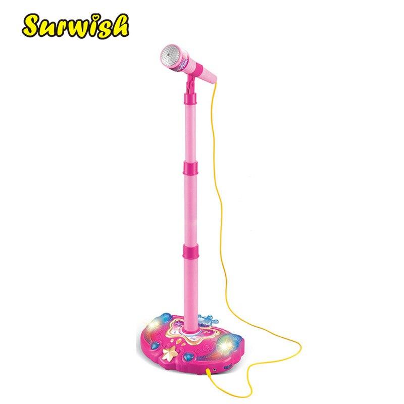 Niños Karaoke soporte ajustable micrófono música micrófono juguete con efecto de luz-rosa