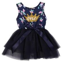 купить Kid Girls Princess Baby Dress Newborn Infant Baby Girl Clothes Purple Floral Crown Print Tutu Ball Gown Party Dresses Y13 по цене 371.57 рублей