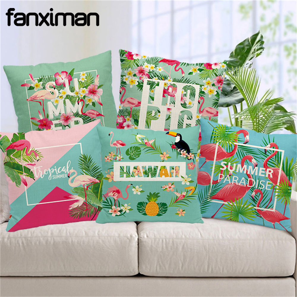 Hot Tropical Green Plant Cushion Cover Flamingo Flower Birds Pillow Covers Pineapple Pillow Case 45X45cm Bedroom Sofa Decoration
