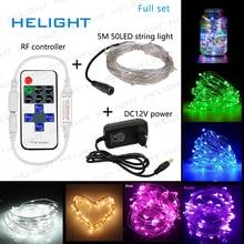 DC12V LED מחרוזת אור פיות אור 5M50LED + בקר + כוח חג מסיבת חתונה וגן קישוט אור עמיד למים גמיש