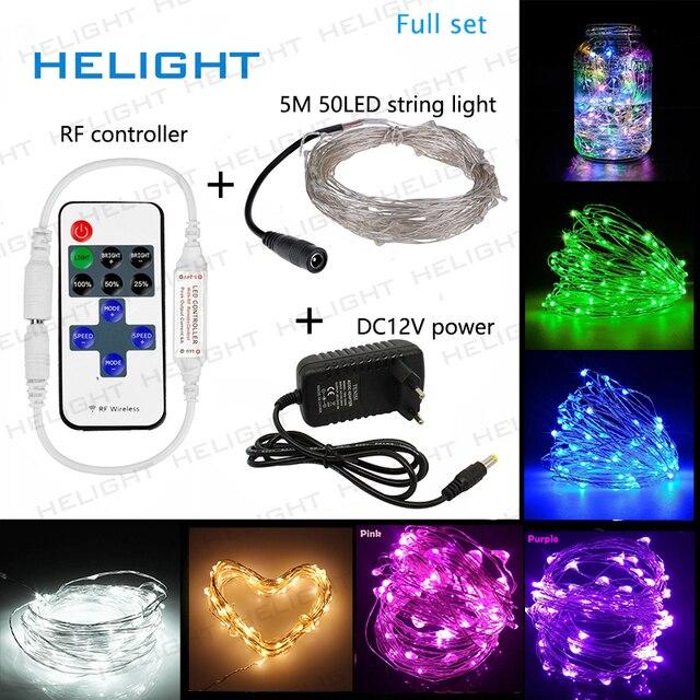 DC12V LED dize işık peri işık 5M50LED + denetleyici + güç tatil parti düğün ve bahçe dekorasyon ışık su geçirmez esnek
