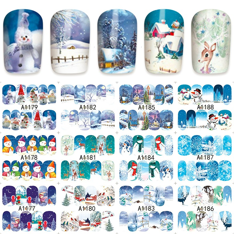 12 sheets christmas snowman winter style Nail Art Full cover Water Transfer decals NAIL STICKER SLIDER TATTOO Nail Accessories 12 sheets halloween nail art water transfer sticker deer full cover decals skull fancy stickers wrap tips decoration a1093 1104