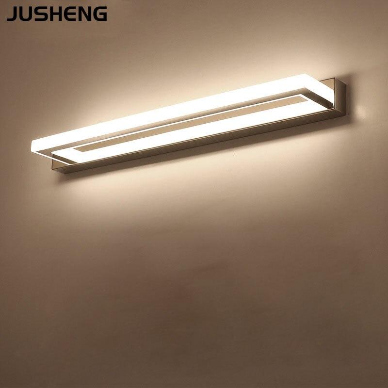 JUSHENG Modern LED Bathroom Mirror Light 9W 42CM Stainless steel Acrylic Wall Lamp Make up Lights 85-240VAC