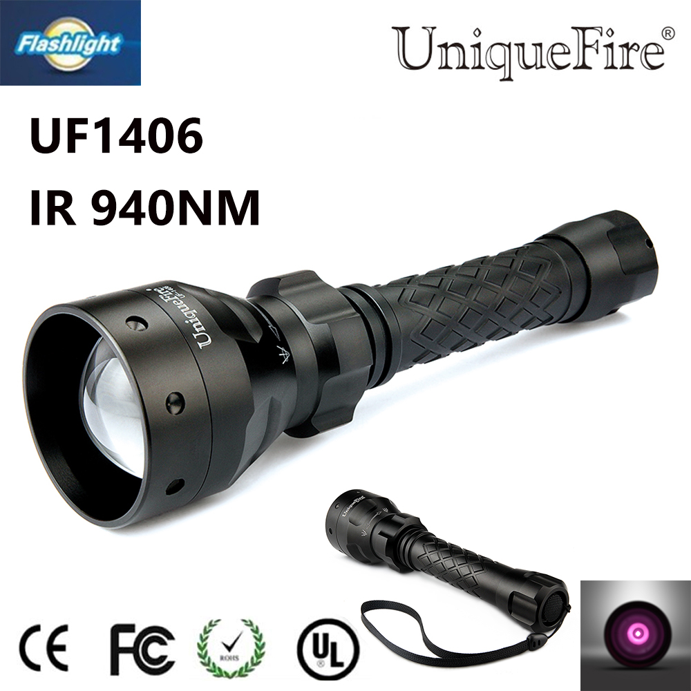 ФОТО Portable Flashlight Uniquefire 1406 940NM IR LED Zoomable 3 Modes Lampe Use For Hunting Camping Conservation Free Shipping
