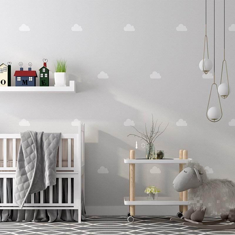 Nordic Ins Sky Cloud Wallpaper for Children Bedroom Pink Blue Cartoon Wallpaper Roll for Kids Boy