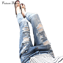 New women jeans 2017 spring ripped jeans pencil pants Embroidered Flares hollow out washed jeans boyfriend pants female C1031