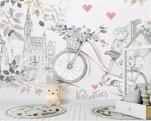 beibehang Custom Silk material 3d wallpaper Hand Painted cute animal bicycle love child room  background decoration