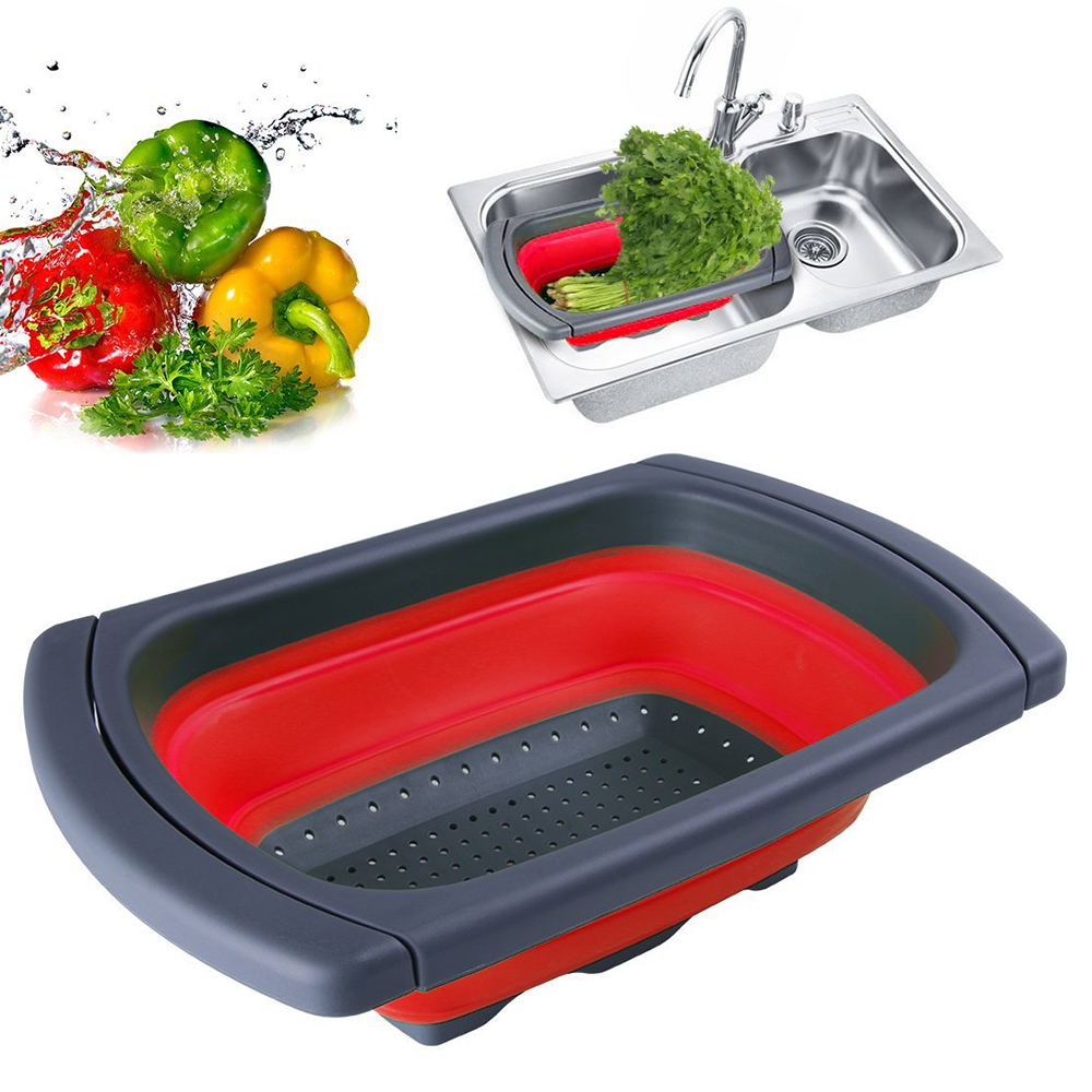 1Pc Red Collapsible Silicone Colander Folding Fruit Vegetable Strainer Chef Basket Large Capacity Kitchen Gadget
