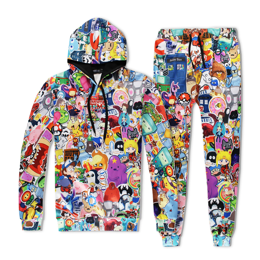 Hot 2 Piece Set Men And Women Casual Tracksuits 3D Print Anime Fashion Hoodies Hooded+Pants Sweatshirt Track Suit