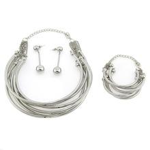 MANILAI Indian Bridal Jewelry Sets Women Fashion Tube Alloy Torque Choker Charm Necklaces Bracelet Earrings Set CE4242