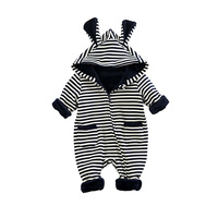 Baby Romper Striped Winter Baby Girls Boys Jumpsuit Striped Cartoon Rabbit Design Baby Girls Rompers