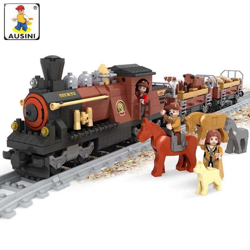 Ausini 531Pcs Railway Train Blocks Assembling Bricks Toy Model Building Blocks Action Figure Educational Toys for Children loz diamond blocks dans blocks iblock fun building bricks movie alien figure action toys for children assembly model 9461 9462