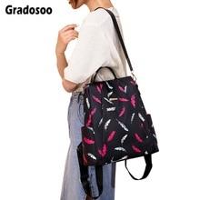 Gradosoo Plumage Pattern Women Backpack Anti-theft Female Schoolbag For Girl Multifunction Shoulder Bag LBF597