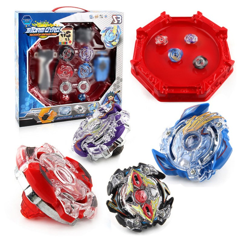 4 piezas Bey blade Kai Watch Land estadio Bayblade de fusión metálica 4D con lanzador de etapa Spinning Top regalo de juguetes de los niños BB807D
