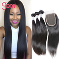 Peruvian Straight Virgin Hair With Closure 4pcs lot Straight Human Hair Weave Lace Closure With Bundles 7A Peruvian Virgin Hair
