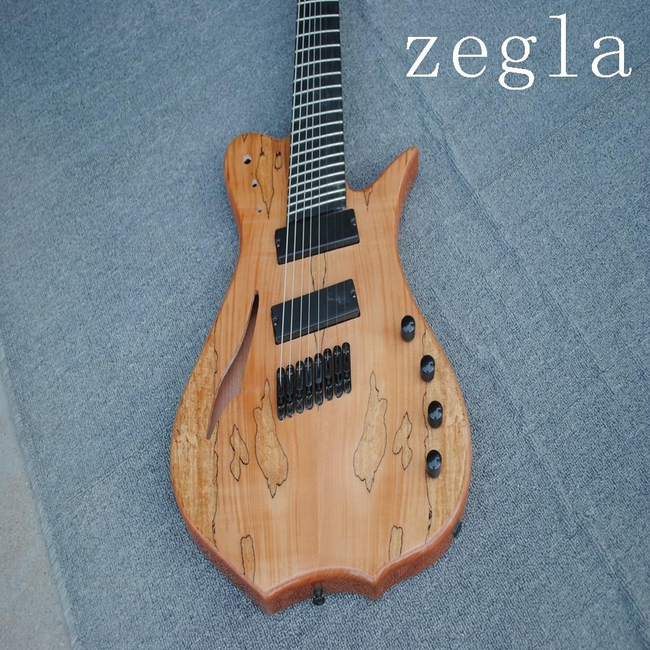 Guitare électrique classique à 8 cordes, placage de grain de carte, couleur naturelle en bois, diagonale, accessoires noirs livraison gratuite, - 2
