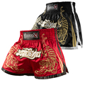 Мужчины Полиэстер Шорты Мма Муай тай BoxingShorts Pantalones Boxeo Мма Hayabusa Черный Красный Тигр Kick Санда Вышивка Борьба