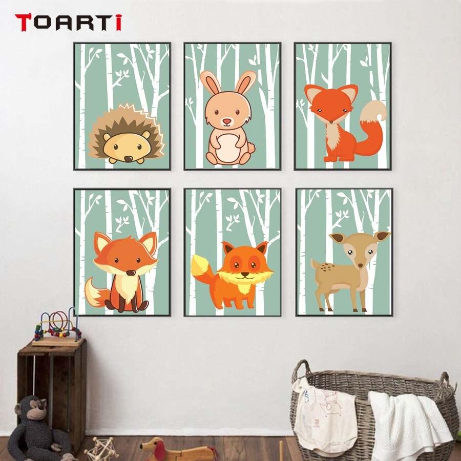 d244e72d31 Pequeño erizo conejos carteles estampados dibujos animados animales lindos  pared arte cuadros lienzo pintura para habitación infantil hogar Decoración