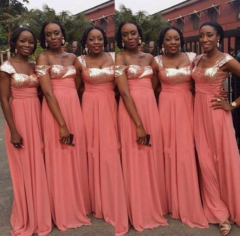 South Africa Sequined Chiffon Bridesmaid Dresses For Wedding Off Shoulder Ruffles Long Maid Of Honer Party Dress FF30 In From