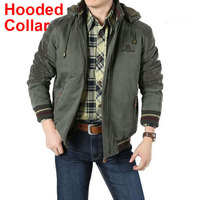 New Winter Military Brand Jacket Men Warm Thicken Casual Pockets Hooded Collar Plus Size 4xl 5XL