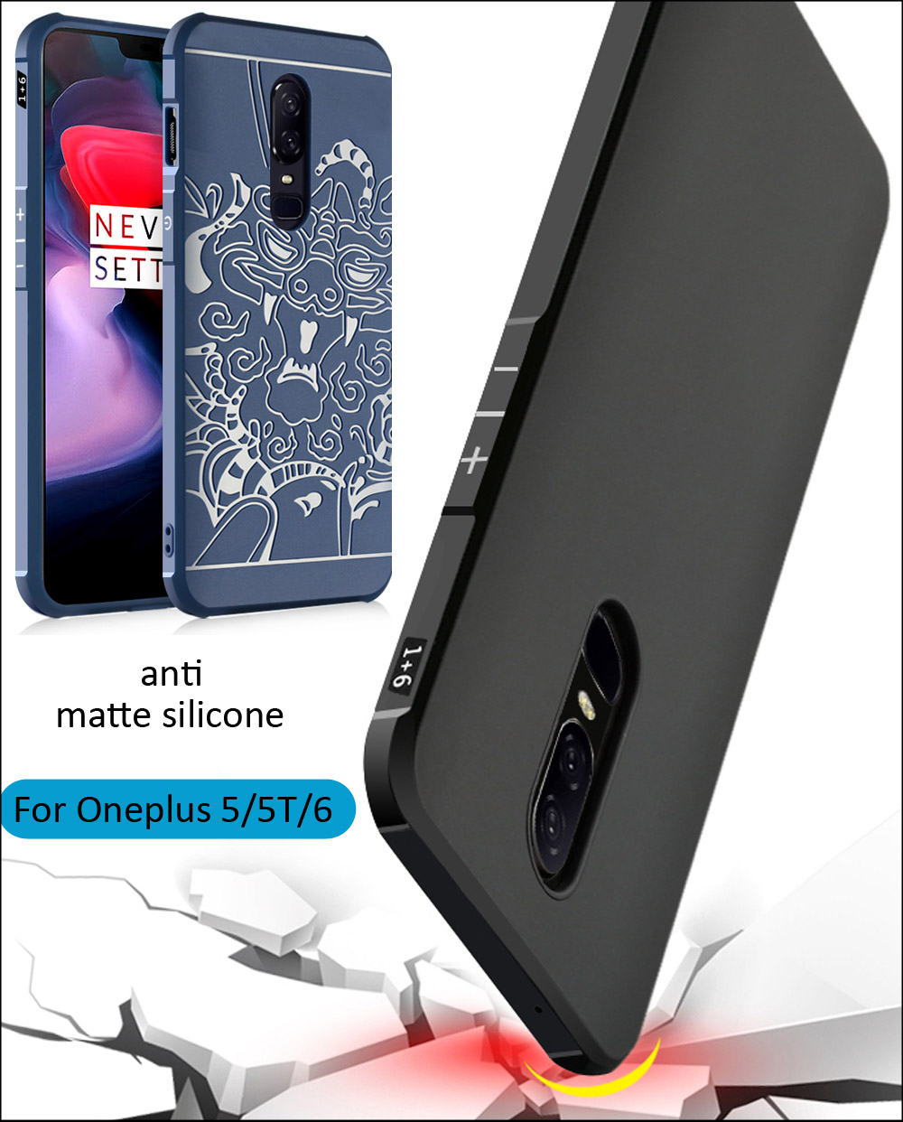 Drop resistance anti hit Shock Silicone Case Cover For Oneplus 6 5 Matte Frosted 3D Dragon Armor Cartoon Shell 5T