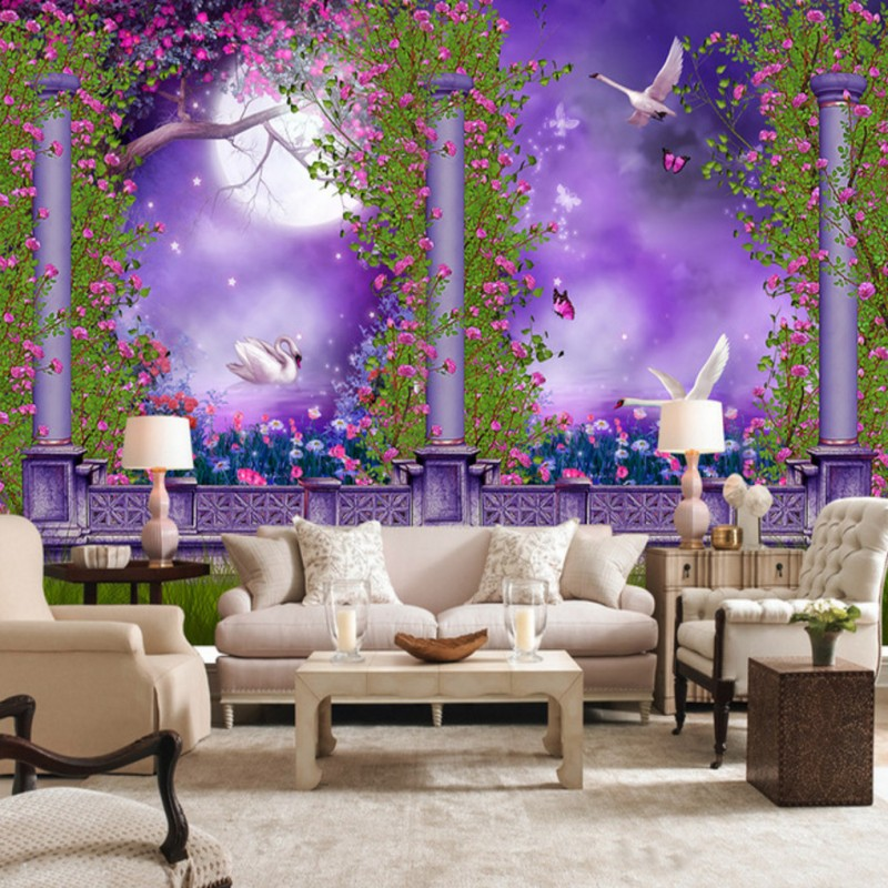 wallpaper 3d Purple Swan Lake Romantic Moonlight 3D wallpaper balcony Living room decoration background mural 3d ручка feizerg f001 purple fp001
