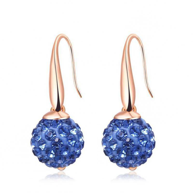 купить New Fashion Rose Gold Color Stainless Steel Stud Earrings For Women Green/blue/purple Crystal Femme Earings VAB4 по цене 5371.8 рублей