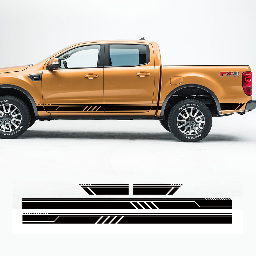 custom car stickers 4 PC set side door racing quadrilateral stripe graphic Vinyl car accessories decal for Ford ranger 2012 2017 in Car Stickers from Automobiles Motorcycles