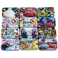 60 pieces Cartoon Metal Box 3D Wooden Puzzles Gift for Kids 24*15*0.3CM