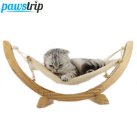 Fashion Wood Cat Hammock Soft Fleece Cotton Rabbit Hamster Bed Cushion Small Dog Cat Hanging Bed